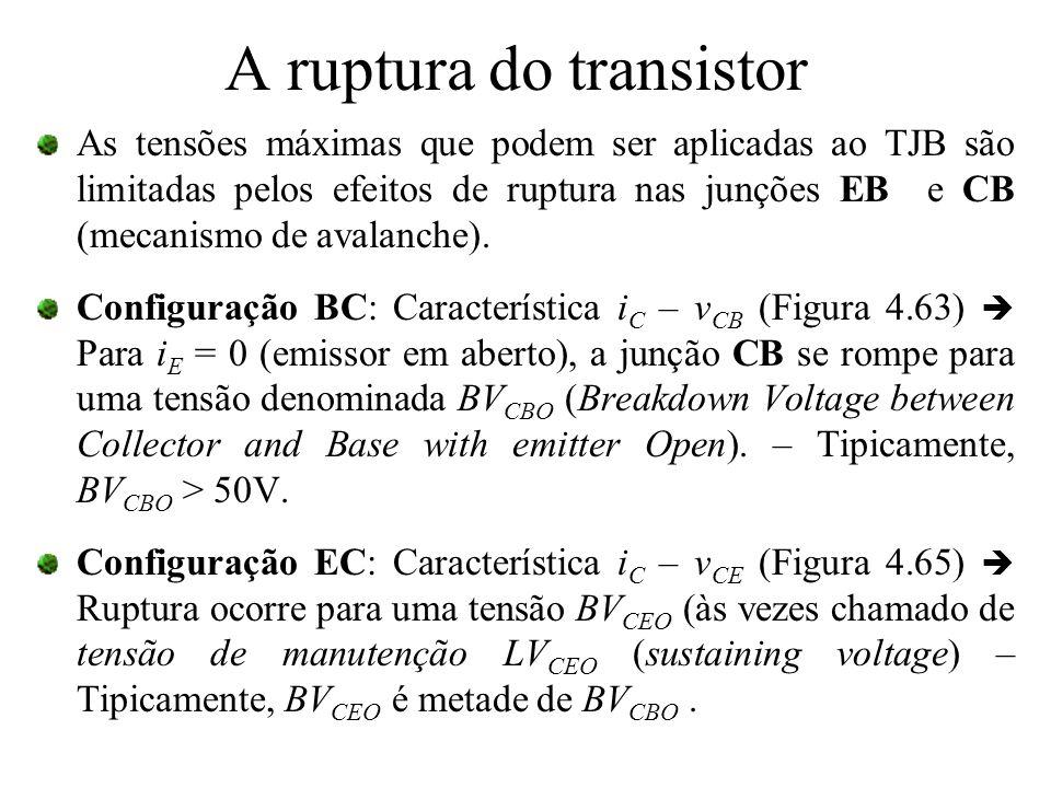 A ruptura do transistor As tensões máximas que podem ser aplicadas ao TJB são limitadas pelos efeitos de ruptura nas junções EB e CB (mecanismo de ava