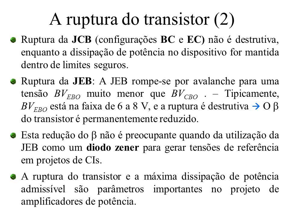 A ruptura do transistor (2) Ruptura da JCB (configurações BC e EC) não é destrutiva, enquanto a dissipação de potência no dispositivo for mantida dent
