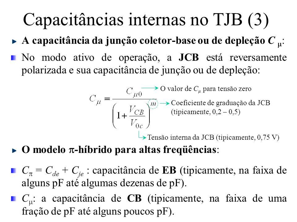 Capacitâncias internas no TJB (3) A capacitância da junção coletor-base ou de depleção C  : No modo ativo de operação, a JCB está reversamente polari