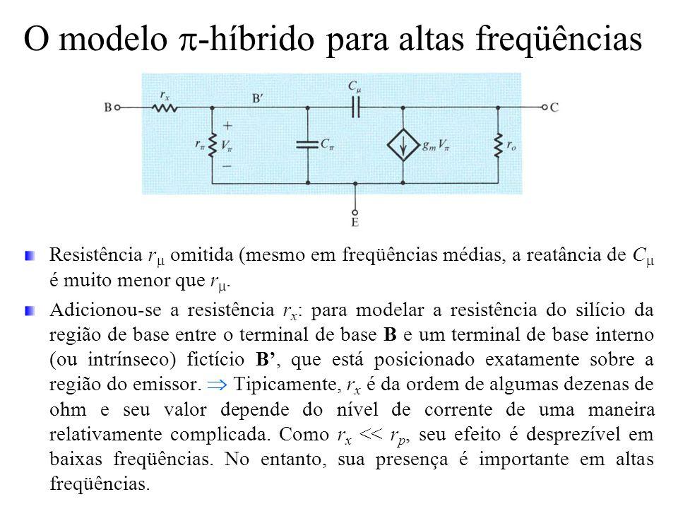 O modelo  -híbrido para altas freqüências Resistência r  omitida (mesmo em freqüências médias, a reatância de C  é muito menor que r . Adicionou-s
