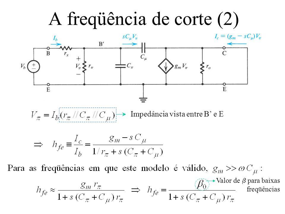 A freqüência de corte (2) Impedância vista entre B' e E Valor de  para baixas freqüências