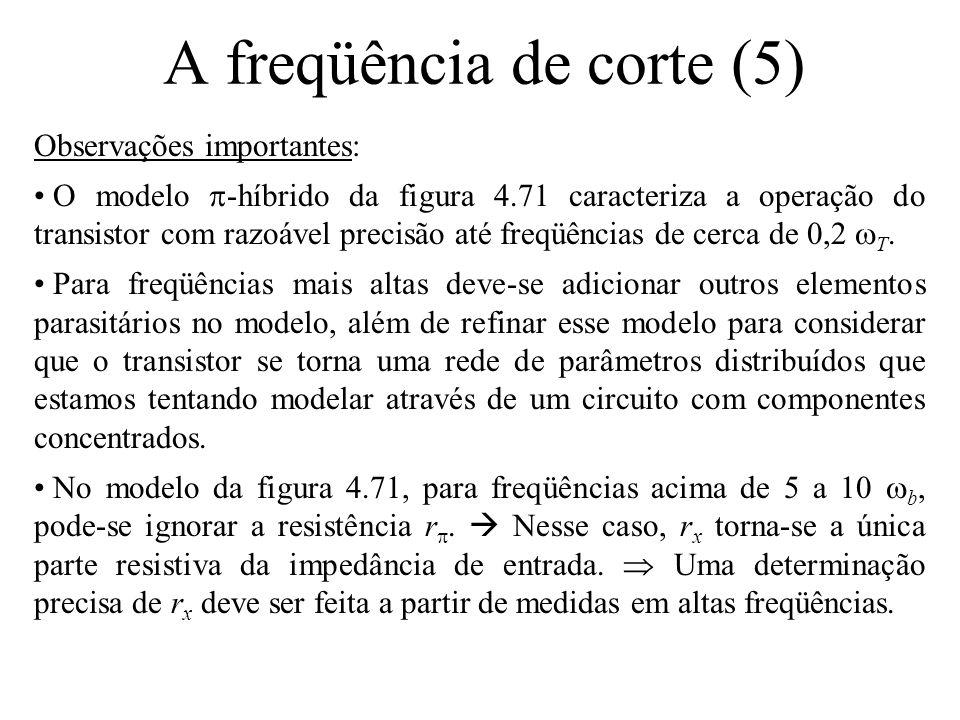 A freqüência de corte (5) Observações importantes: • O modelo  -híbrido da figura 4.71 caracteriza a operação do transistor com razoável precisão até