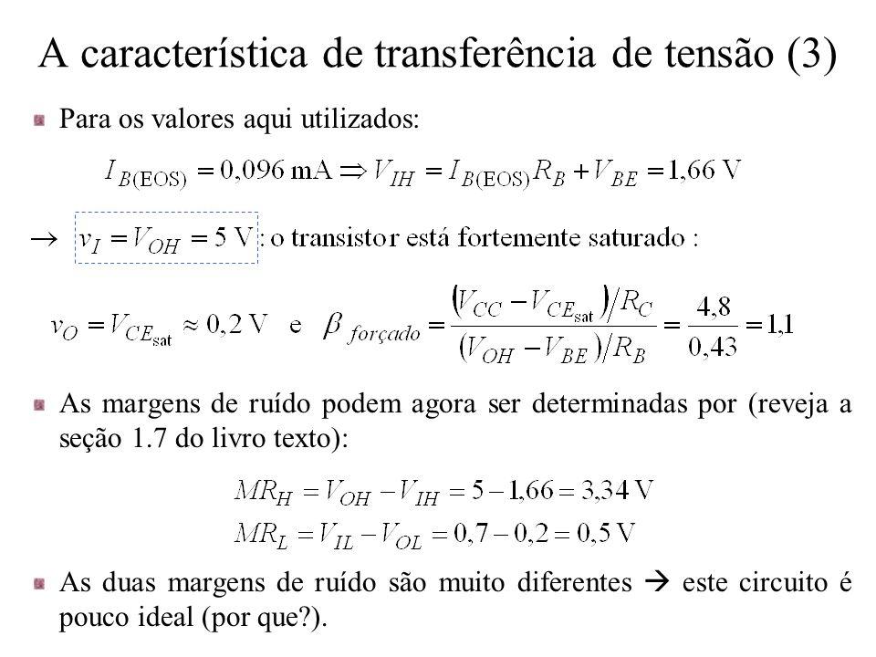 As margens de ruído podem agora ser determinadas por (reveja a seção 1.7 do livro texto): As duas margens de ruído são muito diferentes  este circuit