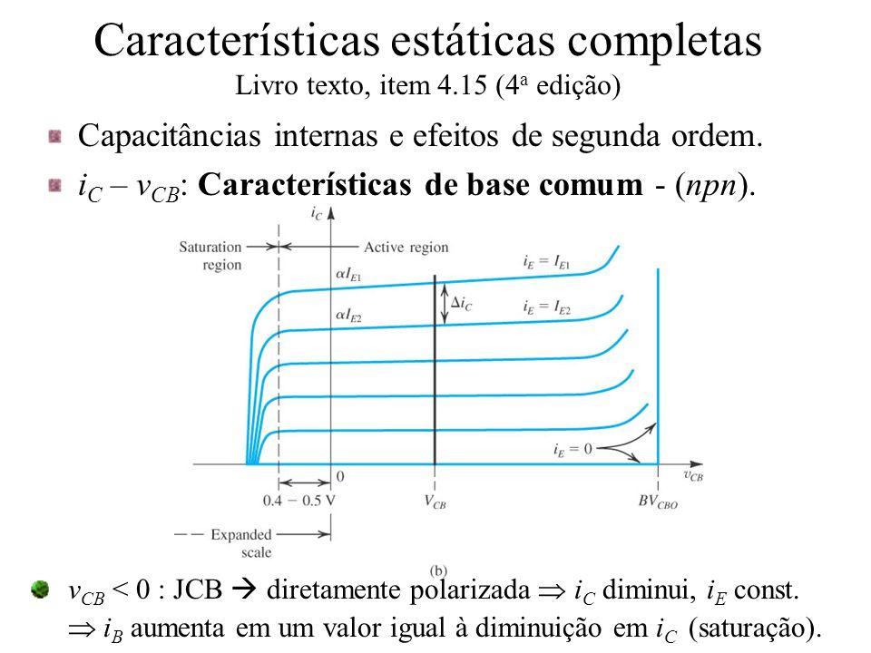 Características estáticas completas Livro texto, item 4.15 (4 a edição) Capacitâncias internas e efeitos de segunda ordem. i C – v CB : Característica