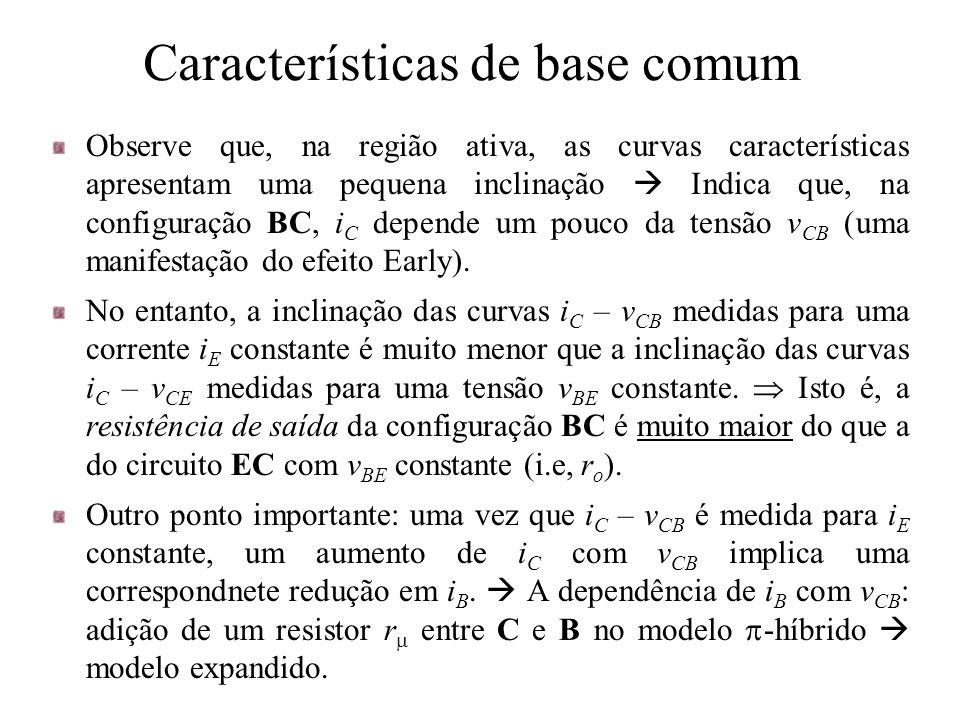 Características de base comum Observe que, na região ativa, as curvas características apresentam uma pequena inclinação  Indica que, na configuração