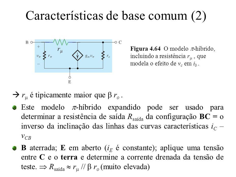 Características de base comum (2) Figura 4.64 O modelo  -híbrido, incluindo a resistência r , que modela o efeito de v c em i b. rr  r  é tipica
