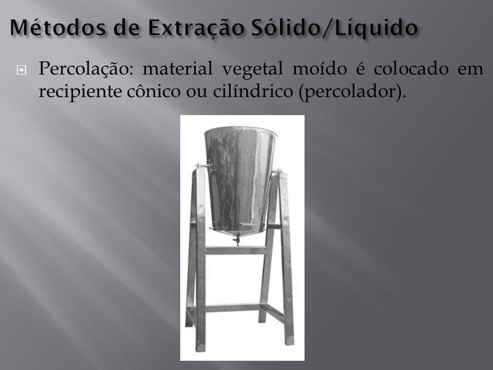  Percolação: material vegetal moído é colocado em recipiente cônico ou cilíndrico (percolador).
