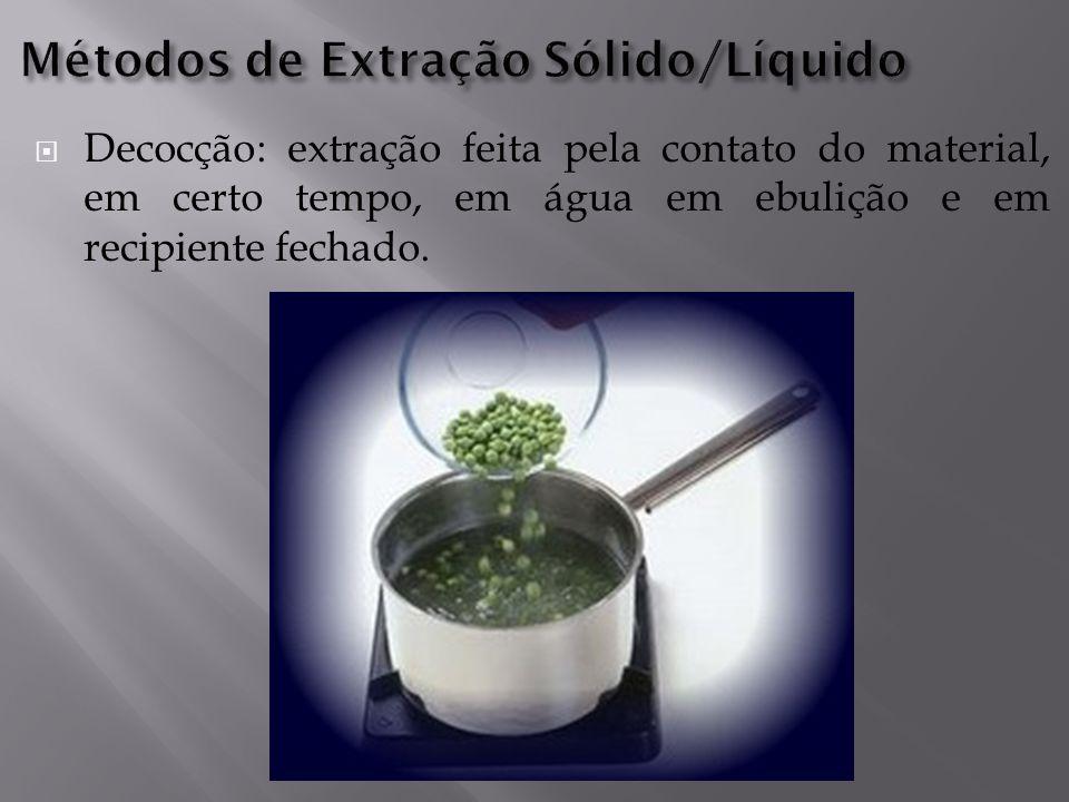  Decocção: extração feita pela contato do material, em certo tempo, em água em ebulição e em recipiente fechado.