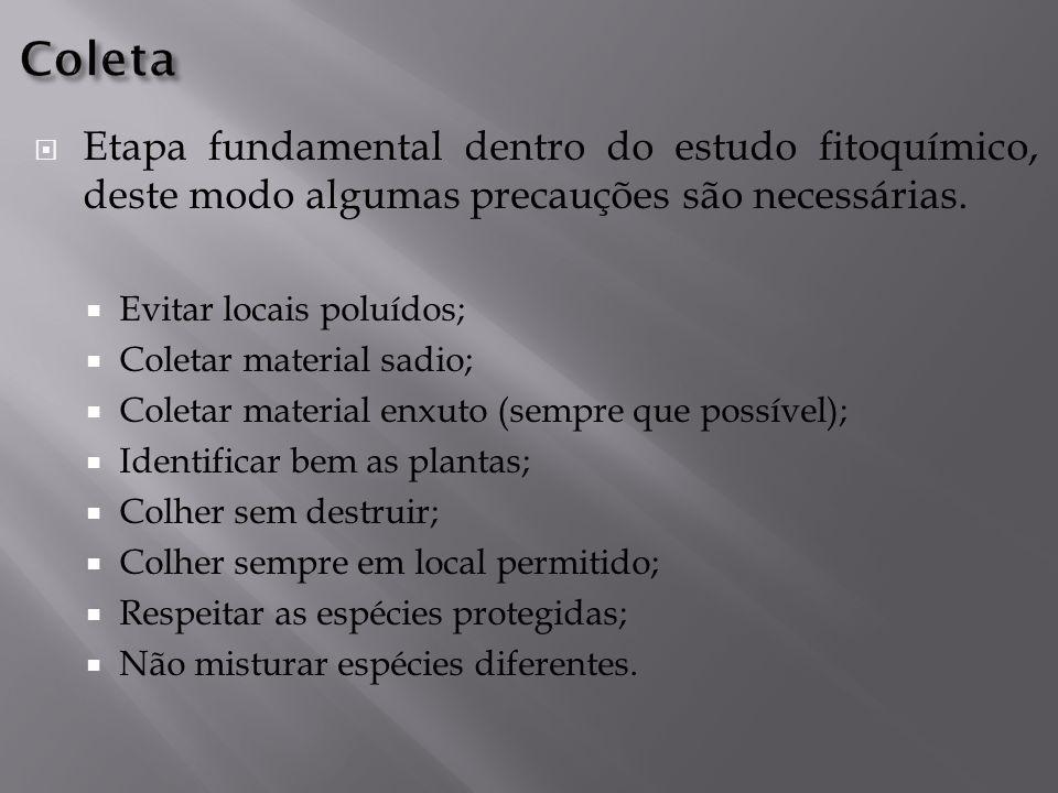  Etapa fundamental dentro do estudo fitoquímico, deste modo algumas precauções são necessárias.