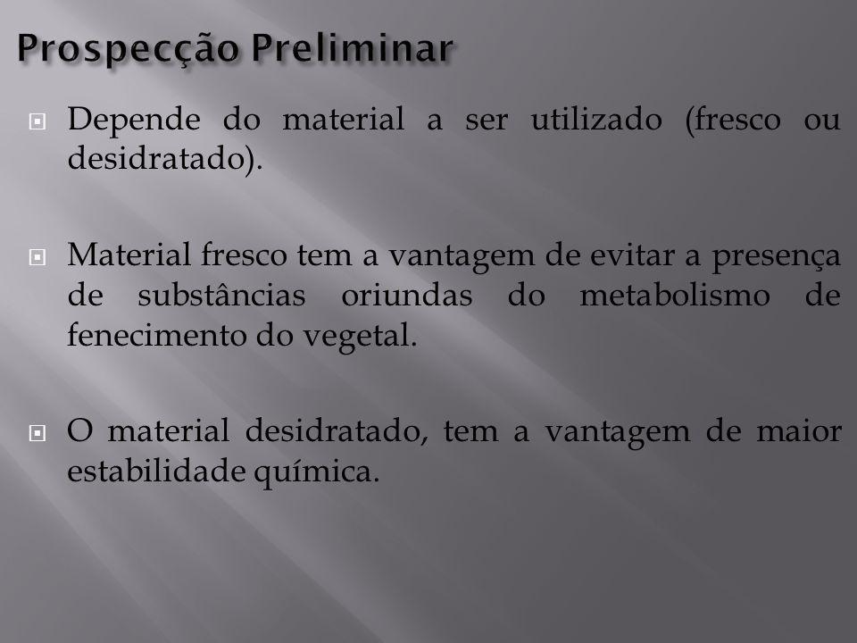  Depende do material a ser utilizado (fresco ou desidratado).