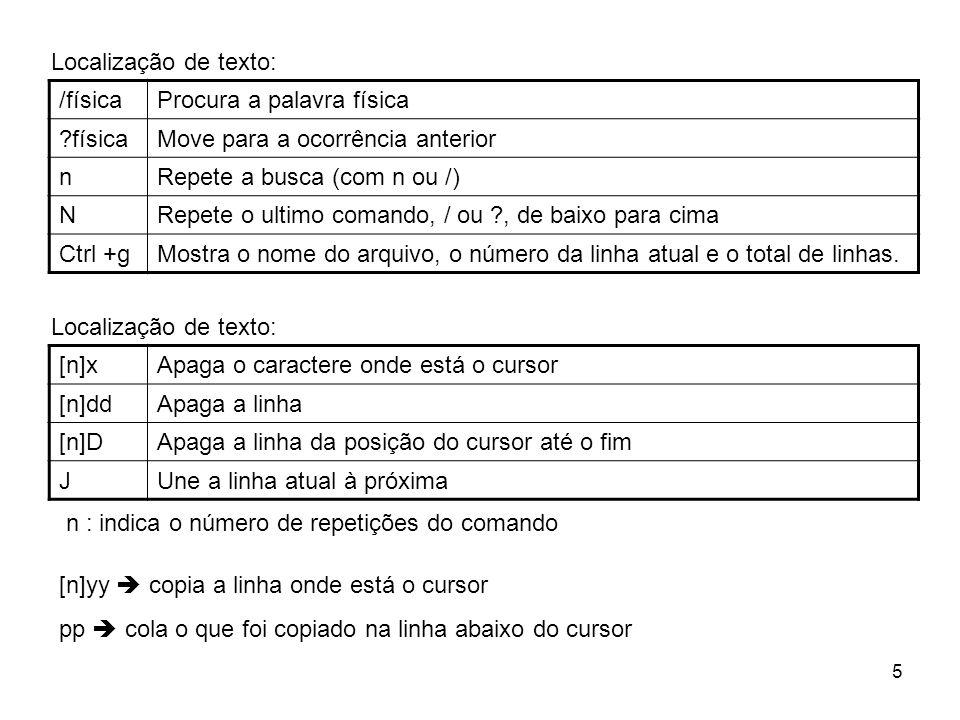 6 Referencias na Internet • http://www.infowester.com/linuxvi.phphttp://www.infowester.com/linuxvi.php • http://aurelio.net/curso/material/vim-ref.htmlhttp://aurelio.net/curso/material/vim-ref.html • http://thomer.com/vi/vi.htmlhttp://thomer.com/vi/vi.html • http://freebsd.ag.com.br/sessao3_4.htmlhttp://freebsd.ag.com.br/sessao3_4.html