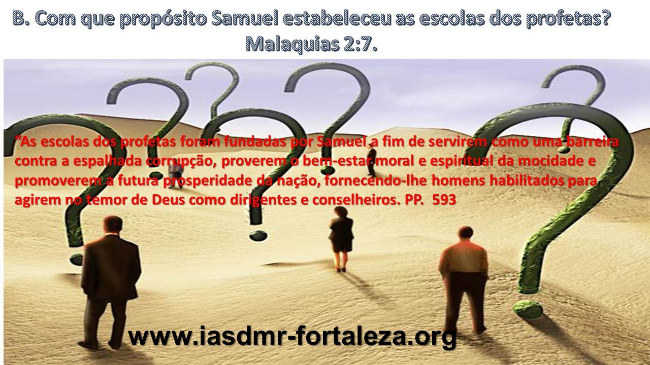 www.iasdmr-fortaleza.org Os principais assuntos de estudo nessas escolas eram a lei de Deus, juntamente com as instruções dadas a Moisés, história sagrada, música sacra e poesia.