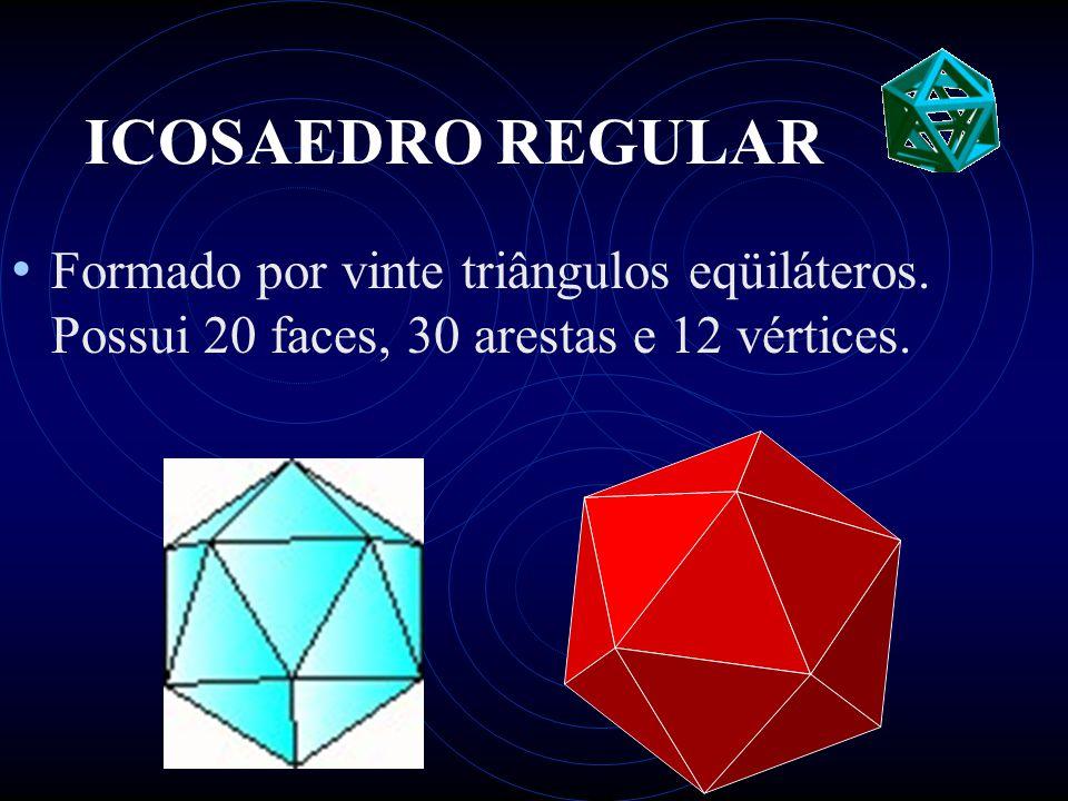 ICOSAEDRO REGULAR • Formado por vinte triângulos eqüiláteros. Possui 20 faces, 30 arestas e 12 vértices.
