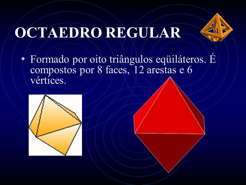 OCTAEDRO REGULAR • Formado por oito triângulos eqüiláteros. É compostos por 8 faces, 12 arestas e 6 vértices.