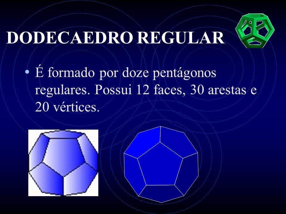 DODECAEDRO REGULAR • É formado por doze pentágonos regulares. Possui 12 faces, 30 arestas e 20 vértices.
