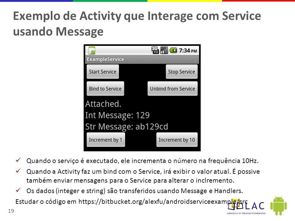 19 Exemplo de Activity que Interage com Service usando Message  Quando o serviço é executado, ele incrementa o número na frequência 10Hz.