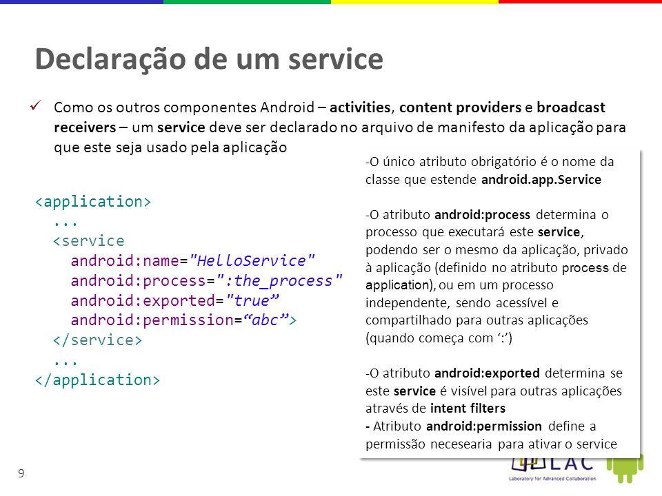 20 Handler na Activity final Messenger mMessenger = new Messenger(new IncomingHandler()); class IncomingHandler extends Handler { @Override public void handleMessage(Message msg) { switch (msg.what) { case MyService.MSG_SET_INT_VALUE: textIntValue.setText( Int Message: + msg.arg1); break; case MyService.MSG_SET_STRING_VALUE: String str1 = msg.getData().getString( str1 ); textStrValue.setText( Str Message: + str1); break; default: super.handleMessage(msg); }  O service estende a classe Handler, que implementa o médodo handleMessage,  Message é recebida no Intent do onBind() Obs: o Service é a classe Myservice
