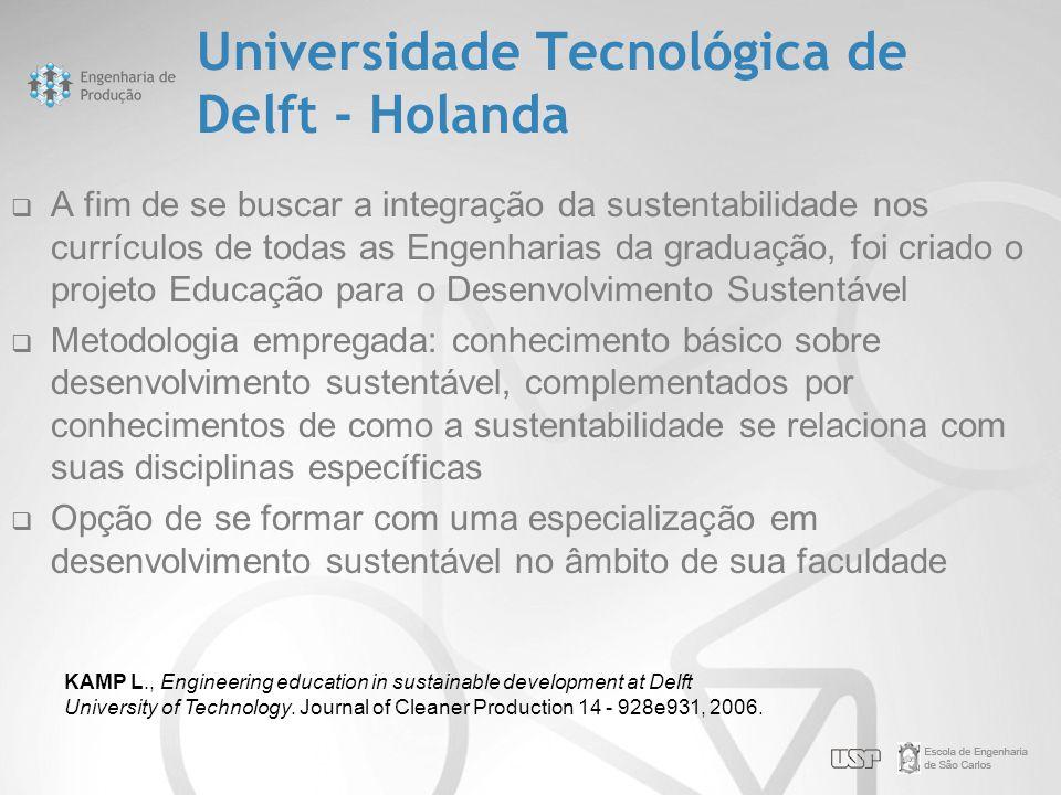 Universidade Tecnológica de Delft - Holanda  A fim de se buscar a integração da sustentabilidade nos currículos de todas as Engenharias da graduação,