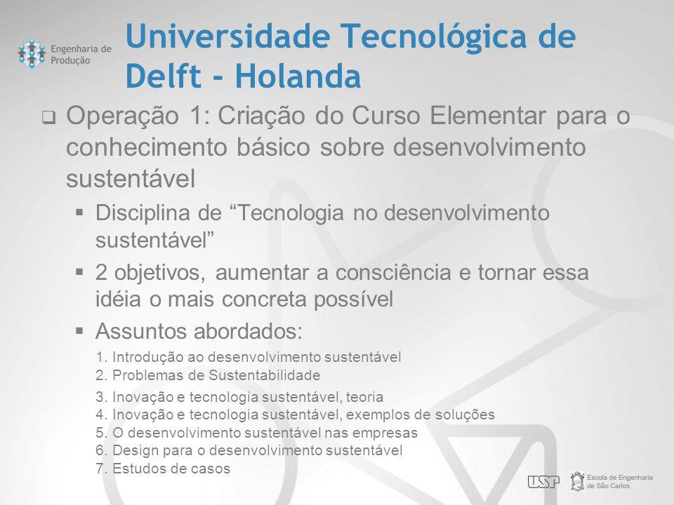 Universidade Tecnológica de Delft - Holanda  Operação 1: Criação do Curso Elementar para o conhecimento básico sobre desenvolvimento sustentável  Di