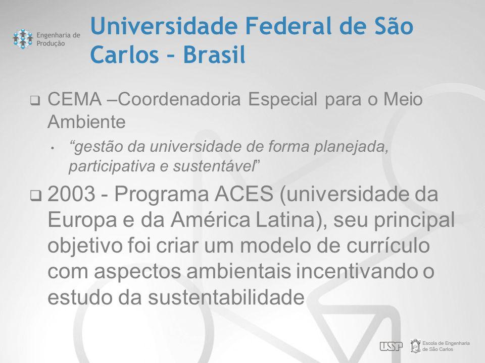 """Universidade Federal de São Carlos – Brasil  CEMA –Coordenadoria Especial para o Meio Ambiente • """"gestão da universidade de forma planejada, particip"""