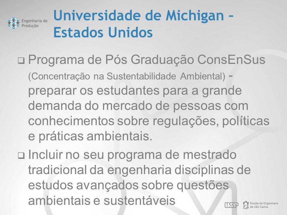 Universidade de Michigan – Estados Unidos  Programa de Pós Graduação ConsEnSus (Concentração na Sustentabilidade Ambiental) - preparar os estudantes