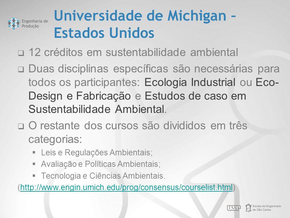 Universidade de Michigan – Estados Unidos  12 créditos em sustentabilidade ambiental  Duas disciplinas específicas são necessárias para todos os par