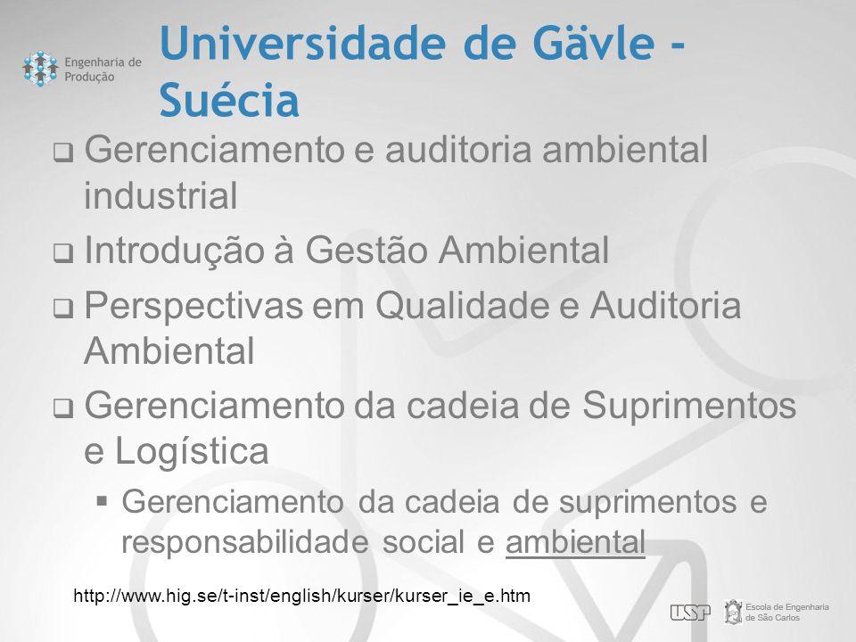 Universidade de Gävle - Suécia  Gerenciamento e auditoria ambiental industrial  Introdução à Gestão Ambiental  Perspectivas em Qualidade e Auditori