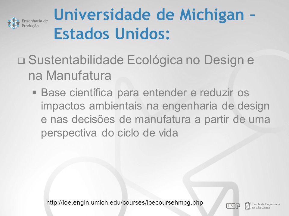 Universidade de Michigan – Estados Unidos:  Sustentabilidade Ecológica no Design e na Manufatura  Base científica para entender e reduzir os impacto
