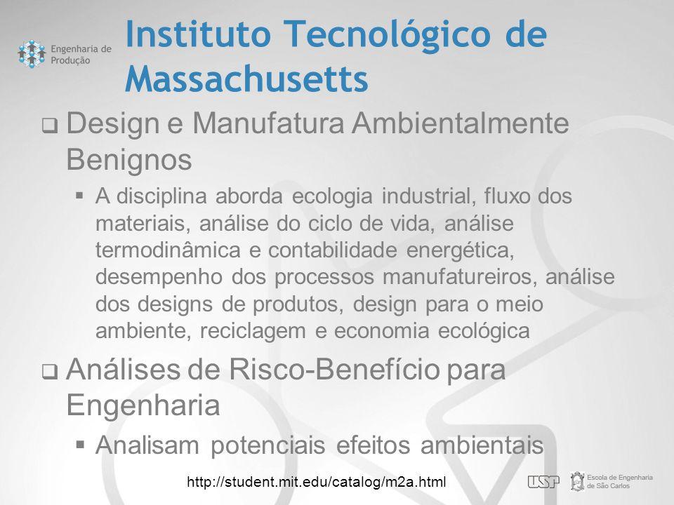 Instituto Tecnológico de Massachusetts  Design e Manufatura Ambientalmente Benignos  A disciplina aborda ecologia industrial, fluxo dos materiais, a