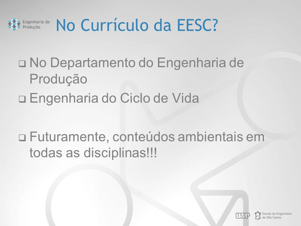 No Currículo da EESC.