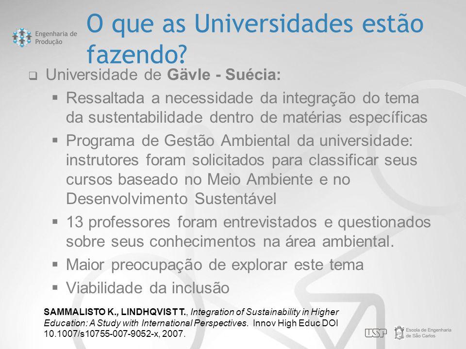 O que as Universidades estão fazendo?  Universidade de Gävle - Suécia:  Ressaltada a necessidade da integração do tema da sustentabilidade dentro de