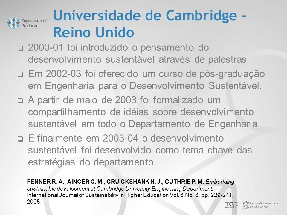 Universidade de Cambridge – Reino Unido  2000-01 foi introduzido o pensamento do desenvolvimento sustentável através de palestras  Em 2002-03 foi of