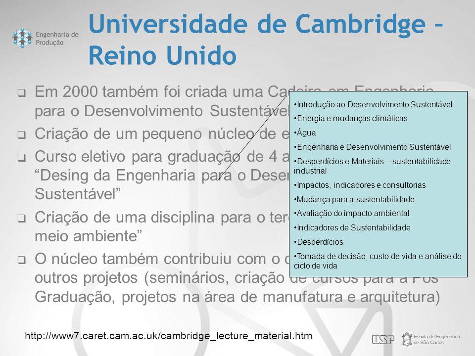 Universidade de Cambridge – Reino Unido  Em 2000 também foi criada uma Cadeira em Engenharia para o Desenvolvimento Sustentável  Criação de um peque