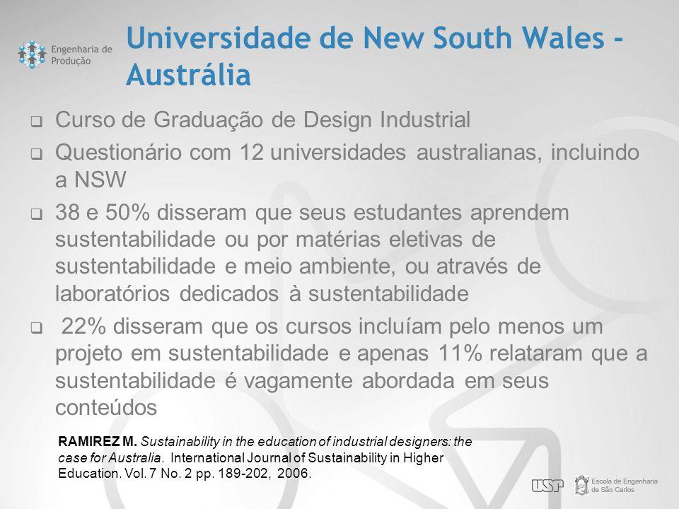Universidade de New South Wales - Austrália  Curso de Graduação de Design Industrial  Questionário com 12 universidades australianas, incluindo a NS