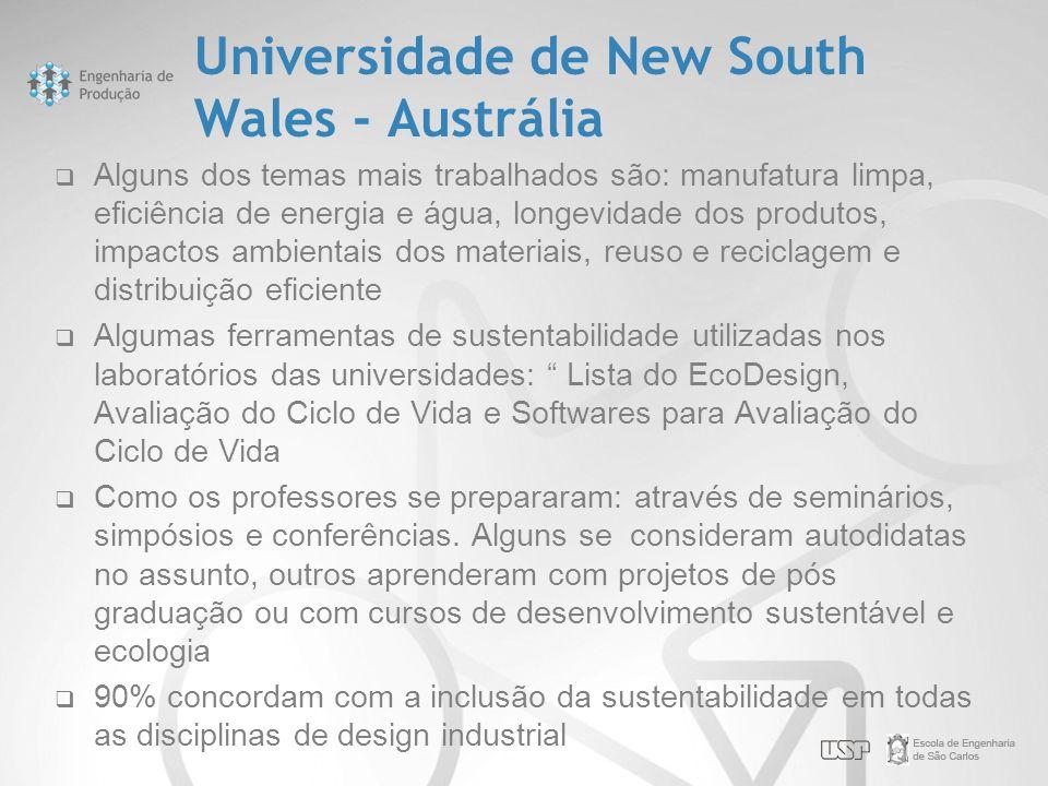 Universidade de New South Wales - Austrália  Alguns dos temas mais trabalhados são: manufatura limpa, eficiência de energia e água, longevidade dos p