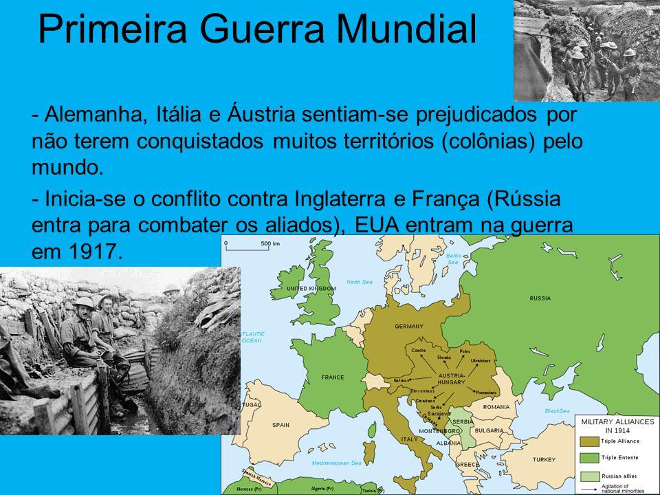 Primeira Guerra Mundial - Alemanha, Itália e Áustria sentiam-se prejudicados por não terem conquistados muitos territórios (colônias) pelo mundo.
