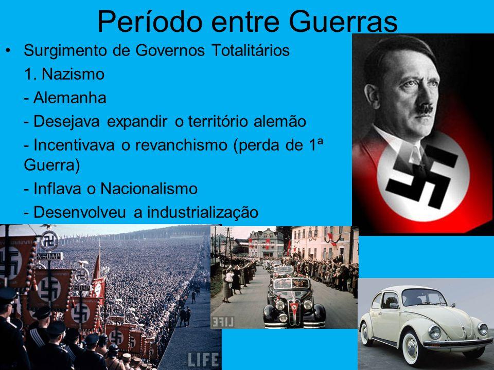 Período entre Guerras •Crises econômicas: 1. Europa devido a destruição ocorrida durante a guerra. 2. Mundial 1929 (quebra da bolsa de Nova Iorque).