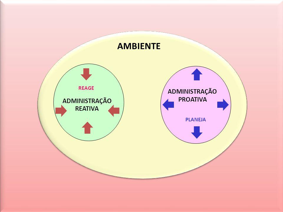 AMBIENTE ADMINISTRAÇÃO REATIVA ADMINISTRAÇÃO PROATIVA REAGE PLANEJA