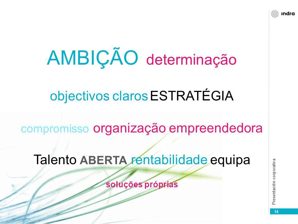 Presentación corporativa 14 AMBIÇÃO determinação objectivos claros ESTRATÉGIA compromisso organização empreendedora Talento ABERTA rentabilidade equipa soluções próprias
