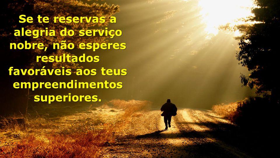 Se te reservas a alegria do serviço nobre, não esperes resultados favoráveis aos teus empreendimentos superiores.