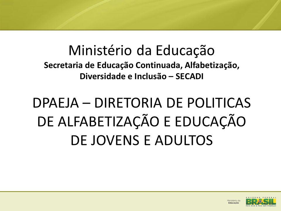 Ministério da Educação Secretaria de Educação Continuada, Alfabetização, Diversidade e Inclusão – SECADI DPAEJA – DIRETORIA DE POLITICAS DE ALFABETIZA