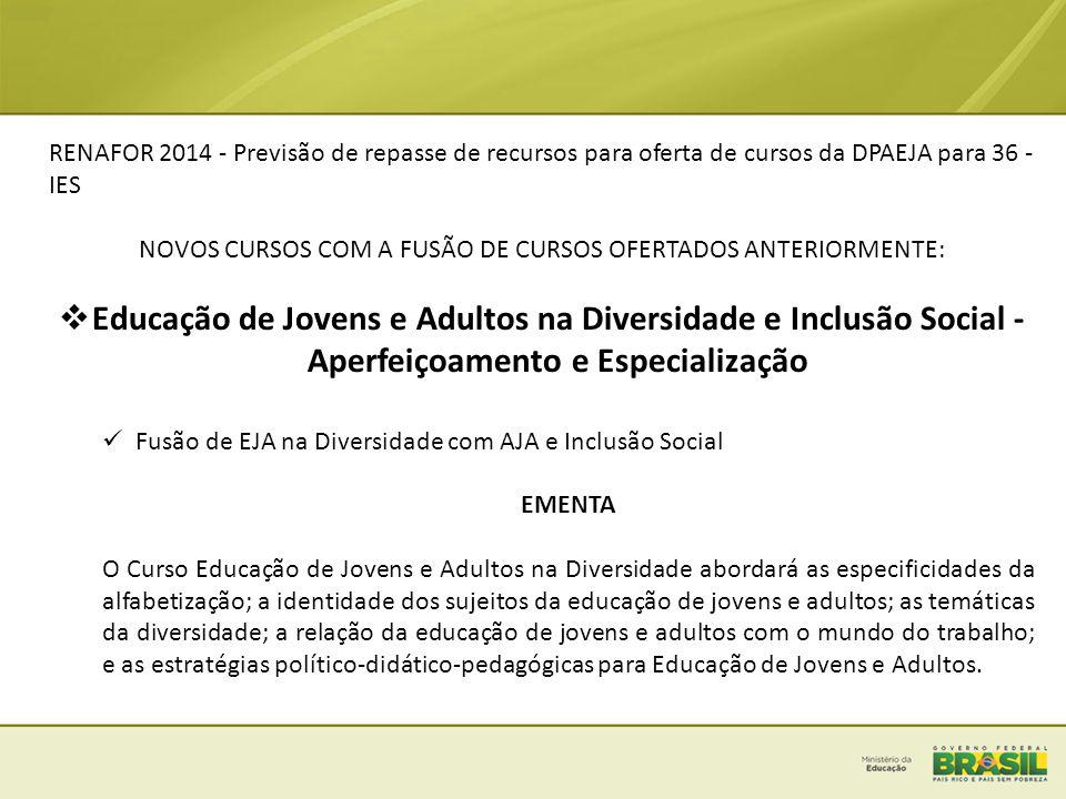 RENAFOR 2014 - Previsão de repasse de recursos para oferta de cursos da DPAEJA para 36 - IES NOVOS CURSOS COM A FUSÃO DE CURSOS OFERTADOS ANTERIORMENT