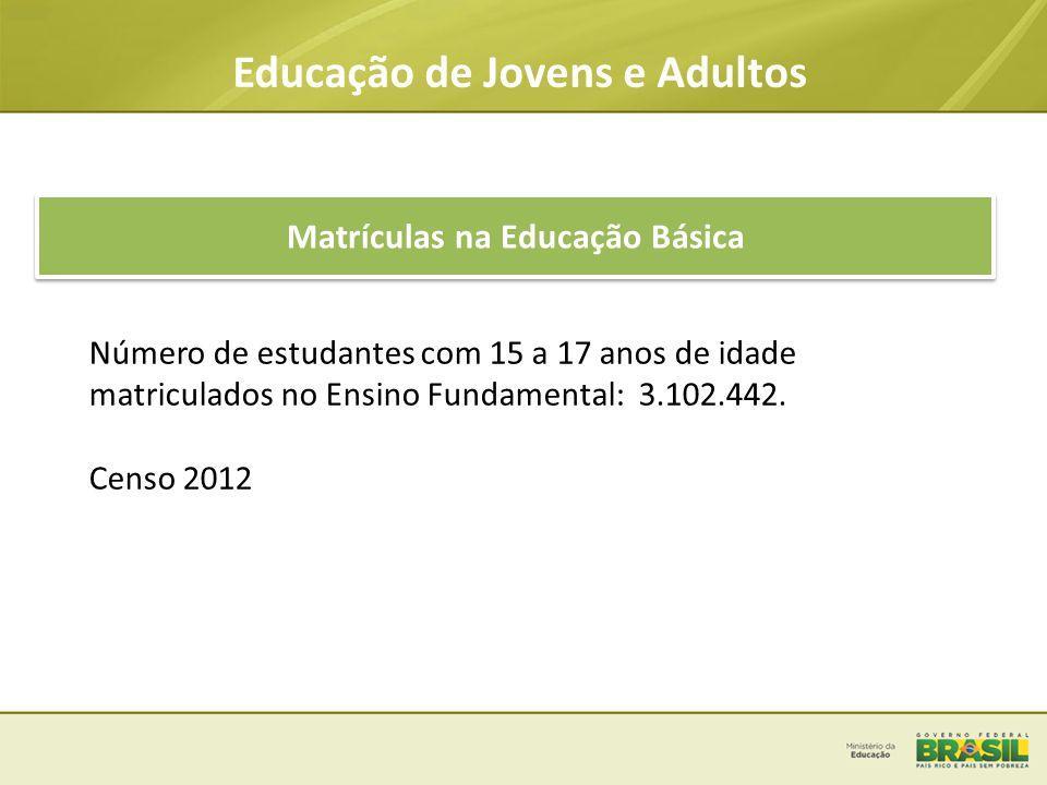 Educação de Jovens e Adultos Matrículas na Educação Básica Número de estudantes com 15 a 17 anos de idade matriculados no Ensino Fundamental: 3.102.44