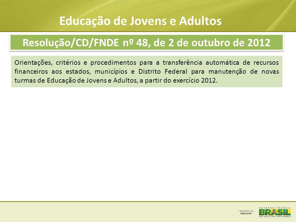 Educação de Jovens e Adultos Resolução/CD/FNDE nº 48, de 2 de outubro de 2012 PERCENTUAIS DE MATRÍCULAS DO PÚBLICO PRIORITÁRIO - ESTADOS SEGMENTOPERCENTUAL Egressos do PBA46,17% Campo43,94% Quilombola2,51% Indígenas2,19% Privados de Liberdade5,19% TOTAL100% PERCENTUAIS DE MATRÍCULAS DO PÚBLICO PRIORITÁRIO - MUNICÍPIOS SEGMENTOPERCENTUAL Egressos do PBA49,49% Campo44,76% Quilombola2,89% Indígenas1,34% Privados de Liberdade1,51% TOTAL100%