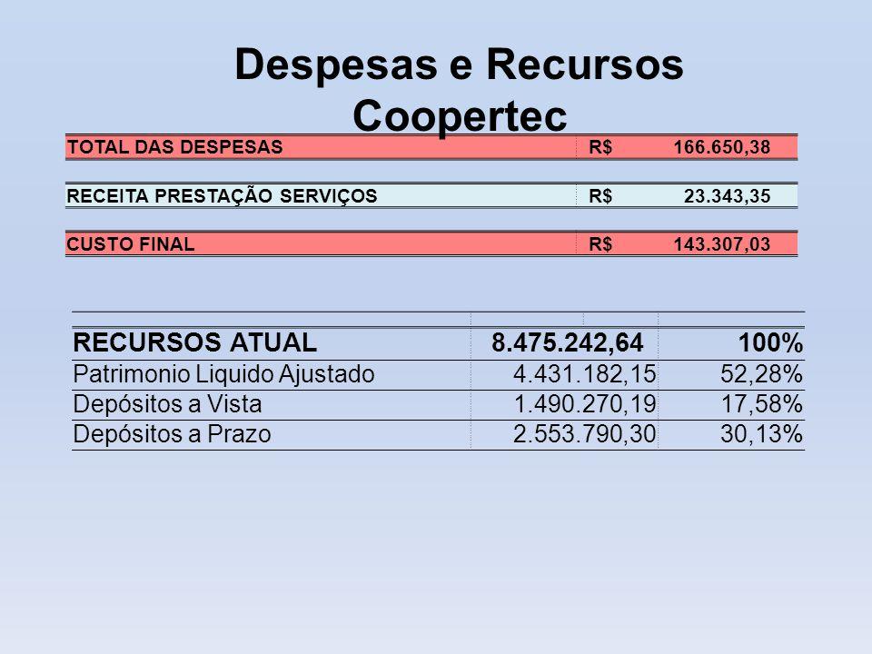 RECURSOS ATUAL 8.475.242,64100% Patrimonio Liquido Ajustado 4.431.182,1552,28% Depósitos a Vista 1.490.270,1917,58% Depósitos a Prazo 2.553.790,3030,1