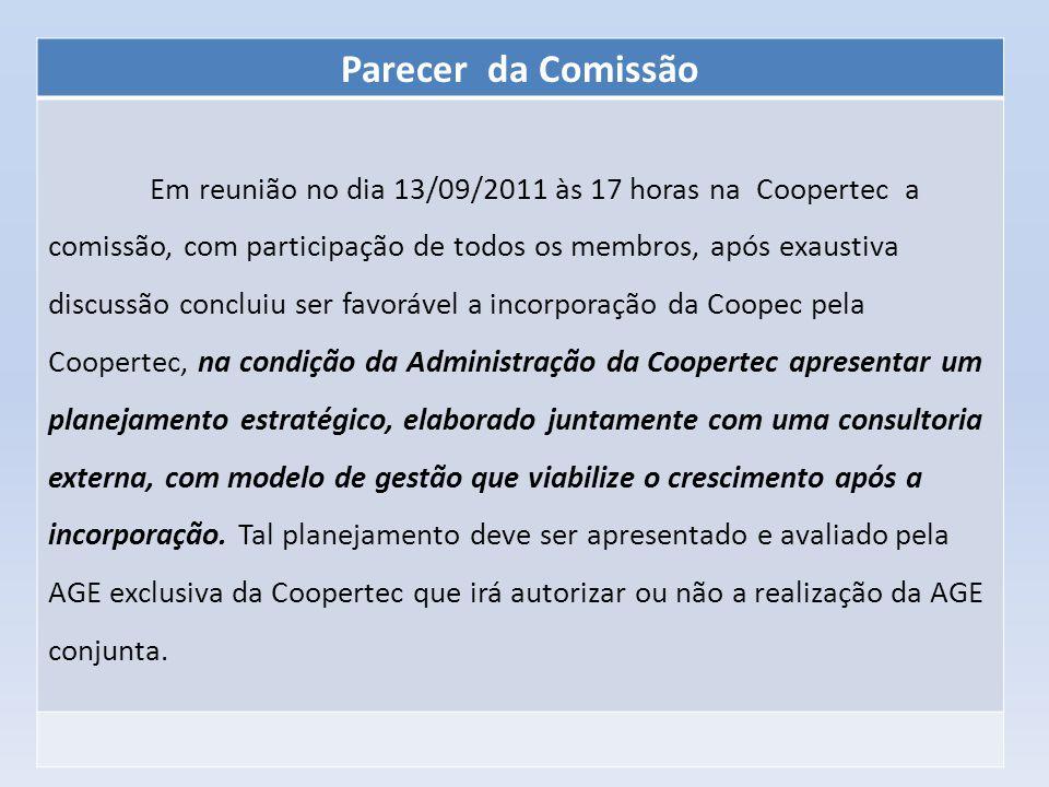 Parecer da Comissão Em reunião no dia 13/09/2011 às 17 horas na Coopertec a comissão, com participação de todos os membros, após exaustiva discussão c