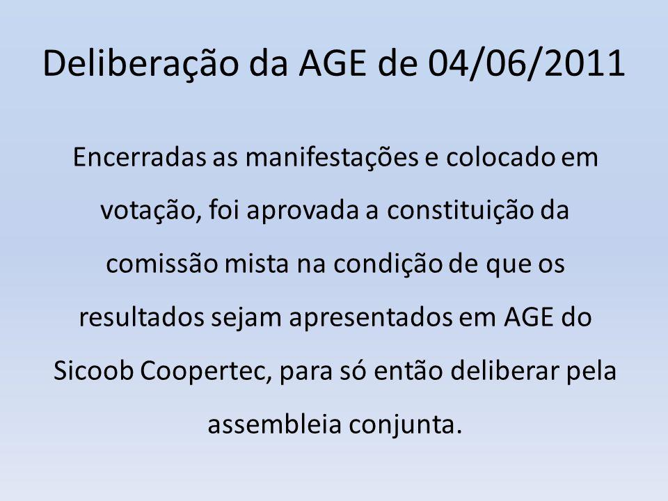 Deliberação da AGE de 04/06/2011 Encerradas as manifestações e colocado em votação, foi aprovada a constituição da comissão mista na condição de que o