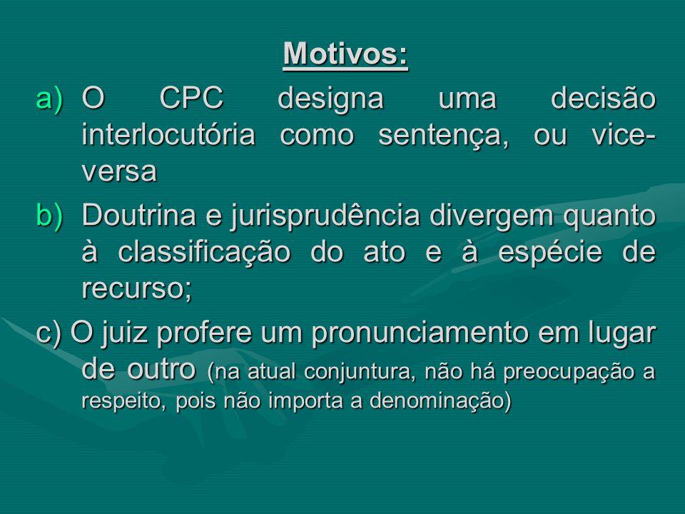 Motivos: a)O CPC designa uma decisão interlocutória como sentença, ou vice- versa b)Doutrina e jurisprudência divergem quanto à classificação do ato e