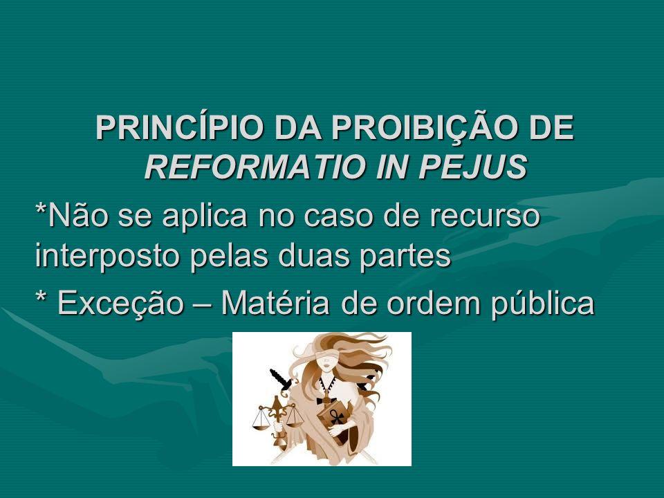 PRINCÍPIO DA PROIBIÇÃO DE REFORMATIO IN PEJUS *Não se aplica no caso de recurso interposto pelas duas partes * Exceção – Matéria de ordem pública
