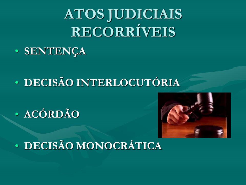 ATOS JUDICIAIS RECORRÍVEIS •SENTENÇA •DECISÃO INTERLOCUTÓRIA •ACÓRDÃO •DECISÃO MONOCRÁTICA